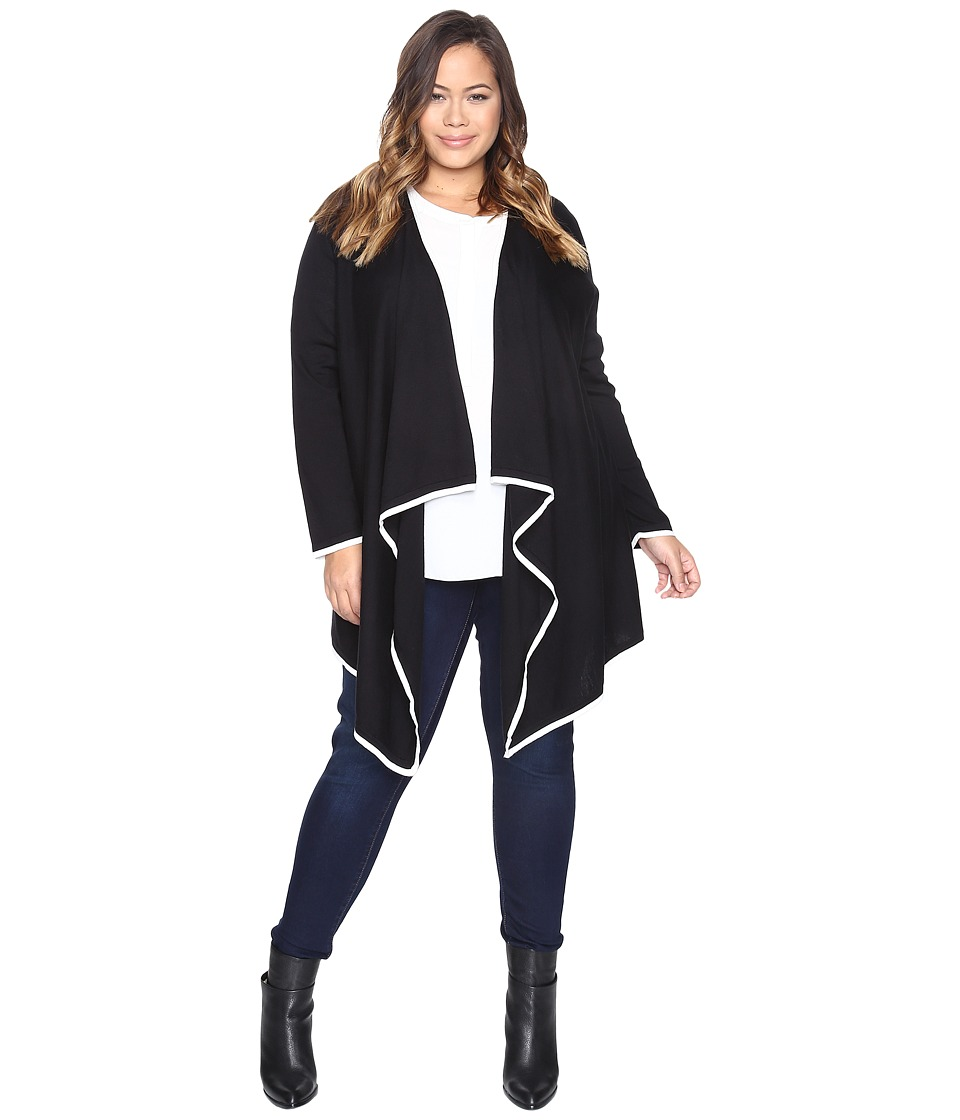 Vince Camuto Specialty Size - Plus Size Long Sleeve Drape Open Front Tipped Sweater Cardigan
