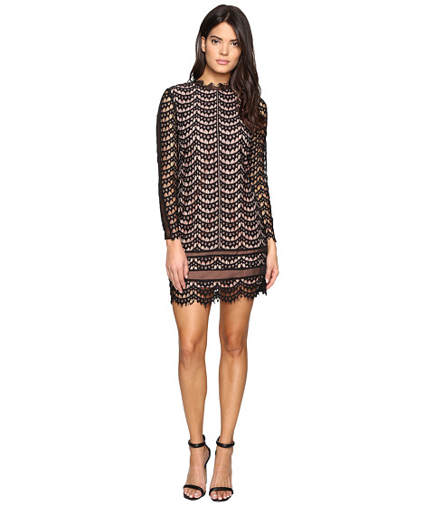 Adelyn Rae Long Sleeve Lace Dress - Black/Nude