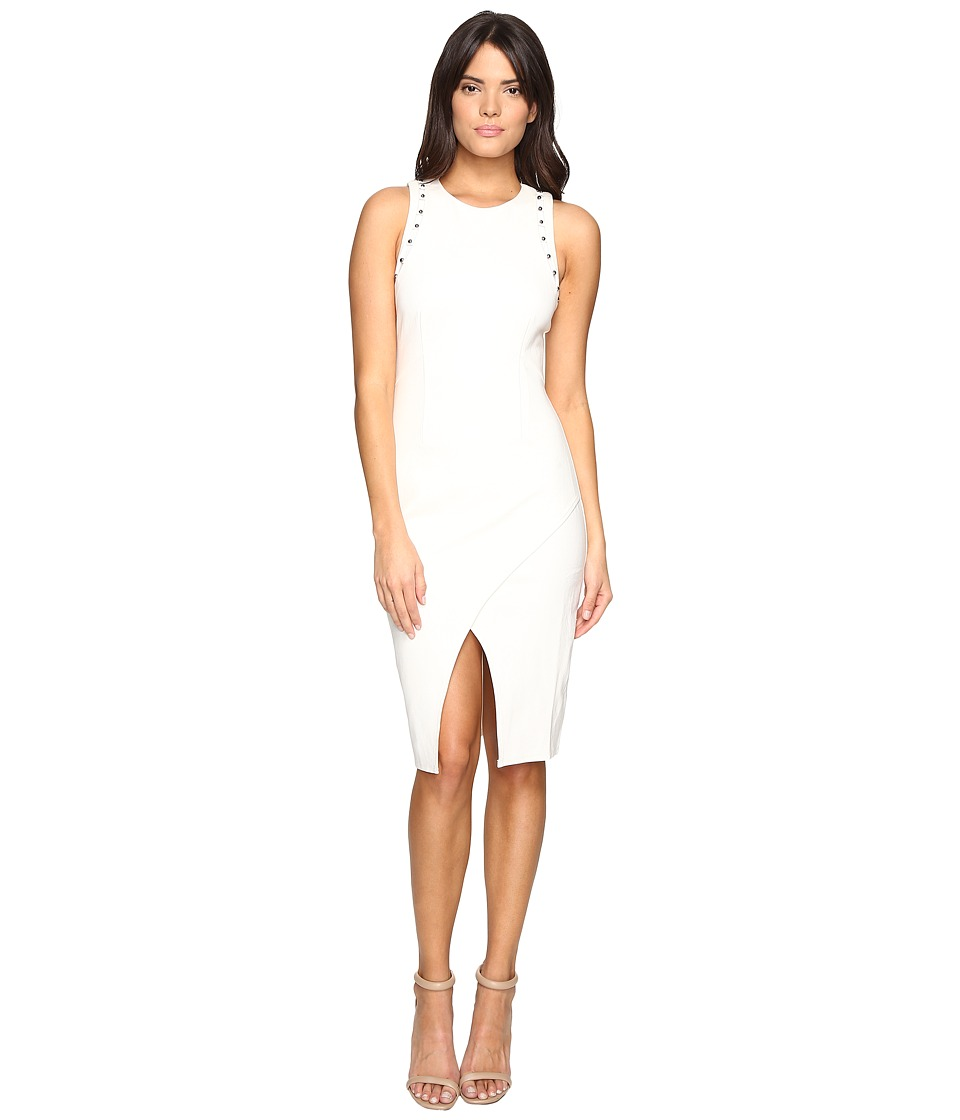 Image of Adelyn Rae - Fitted Dress with Shoulder Studs (Winter White) Women's Dress