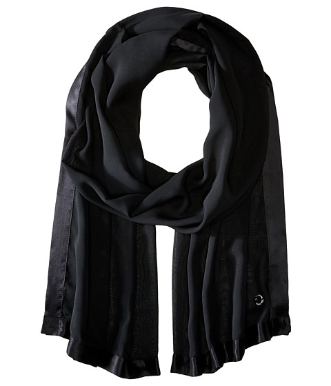 Calvin Klein Satin Border Chiffon Scarf - Black