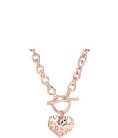 GUESS - Logo Heart Charm Toggle Necklace