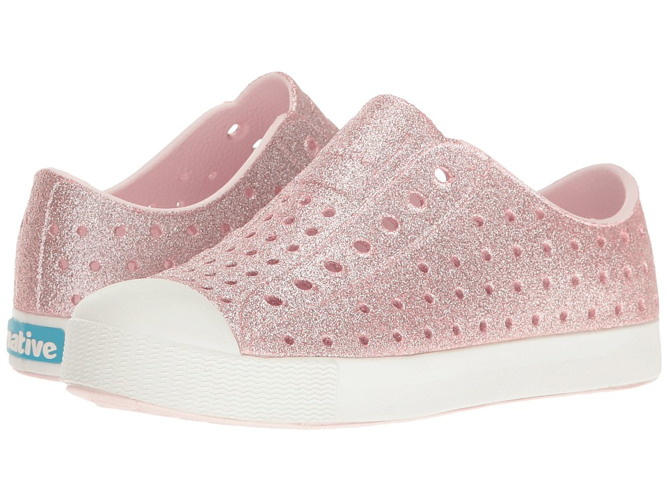Native Kids Shoes Jefferson Bling Glitter (Little Kid) (Milk Pink Bling/Shell White) Girls Shoes