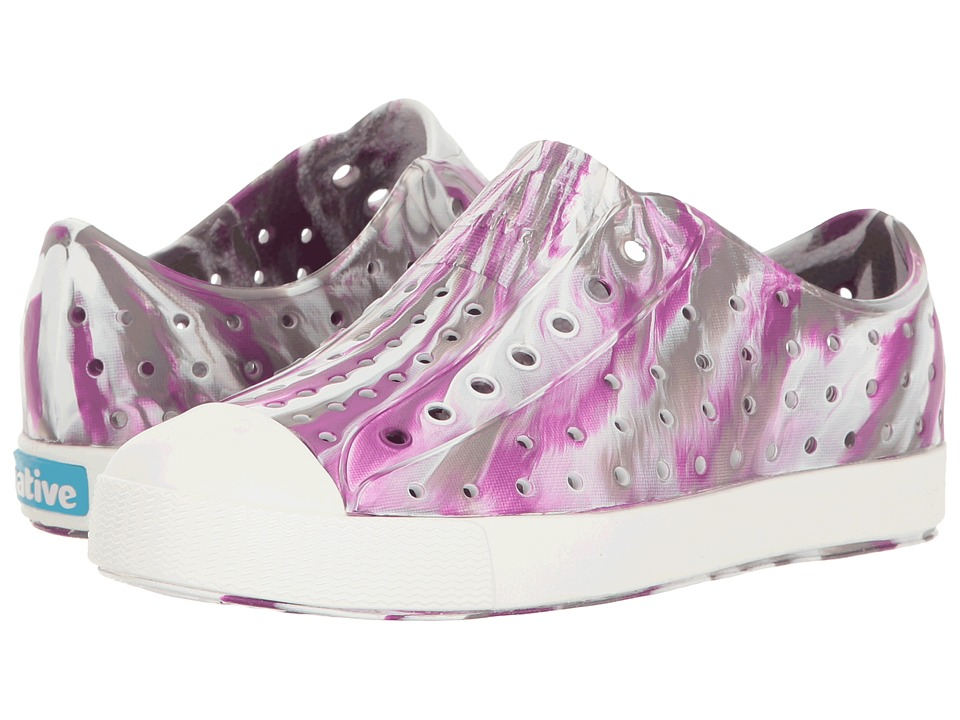 Native Kids Shoes - Jefferson Marbled (Little Kid) (Quail Purple/Shell White/ Marbled) Girls Shoes