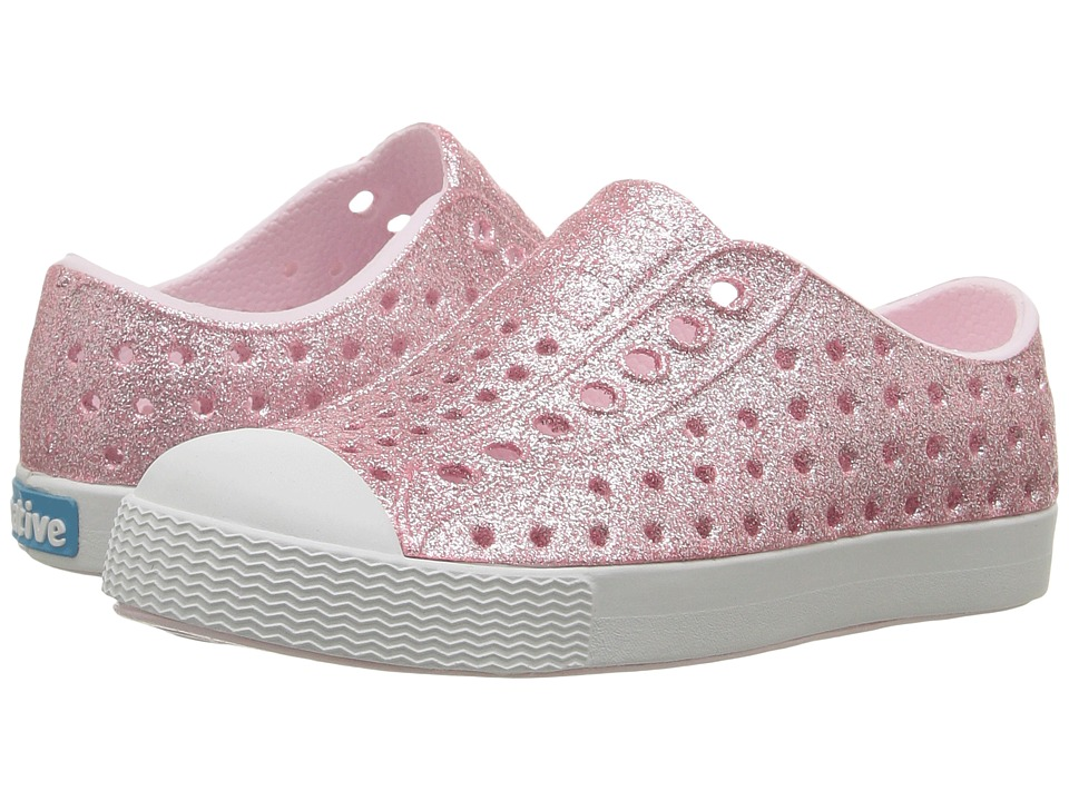Native Kids Shoes Jefferson Bling Glitter (Toddler/Little Kid) (Milk Pink Bling/Shell White) Girls Shoes
