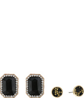 GUESS - Rectangular Stone and Stone Stud Duo Ear Set Earrings