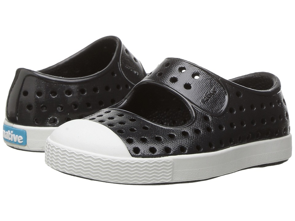 Native Kids Shoes Juniper Mary Jane Gloss (Toddler/Little Kid) (Jiffy Black/Shell White/Gloss) Girls Shoes