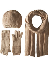Calvin Klein - Three-Piece Waffle Knit Hat/Gloves/Scarf Set