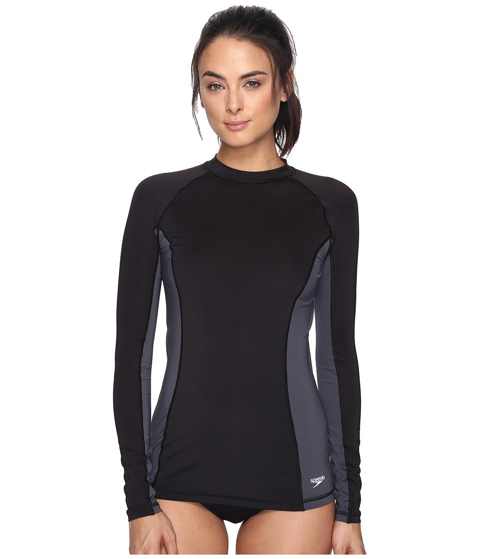 Speedo Solid Long Sleeve Rashguard (Speedo Black) Women