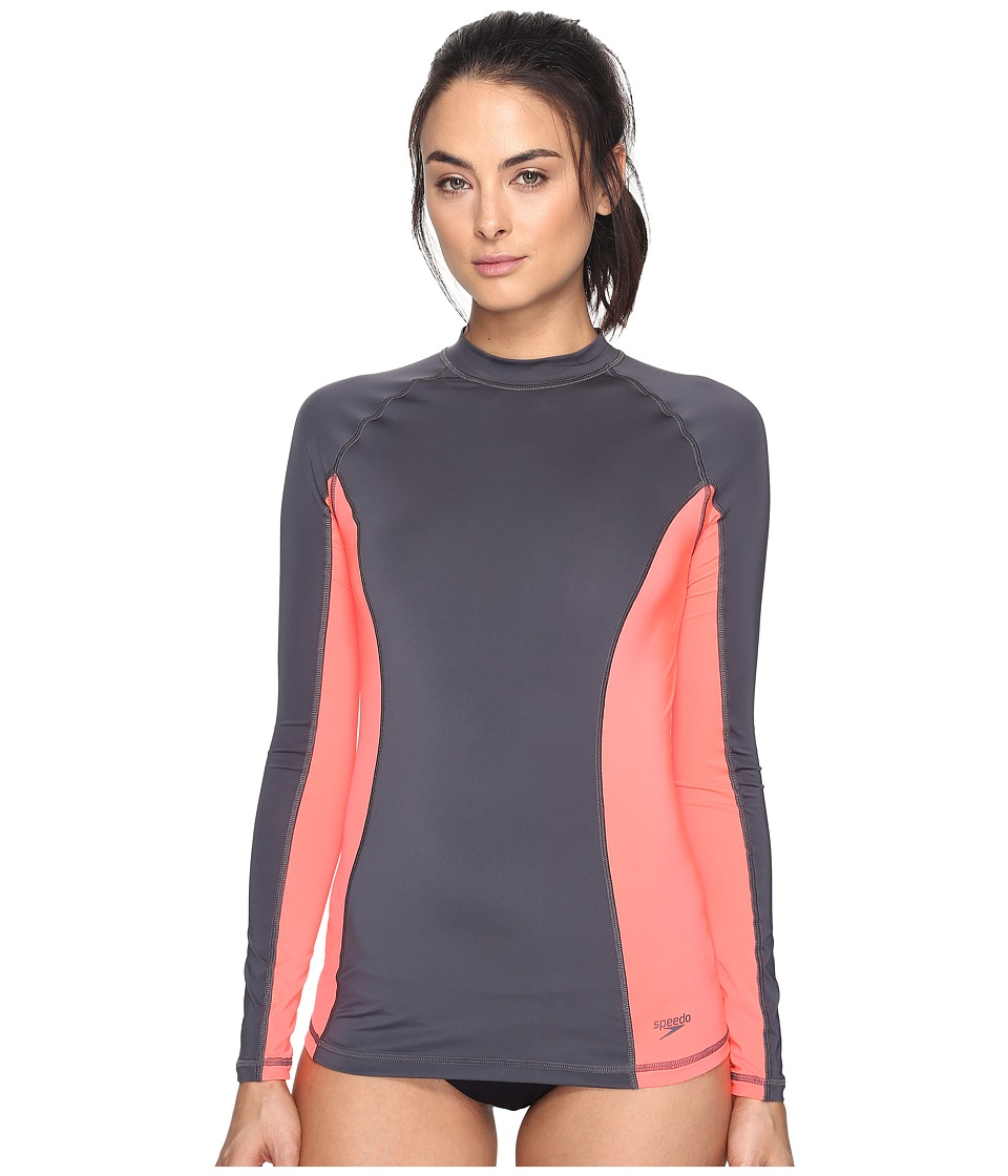 Speedo Solid Long Sleeve Rashguard (Lava Grey) Women