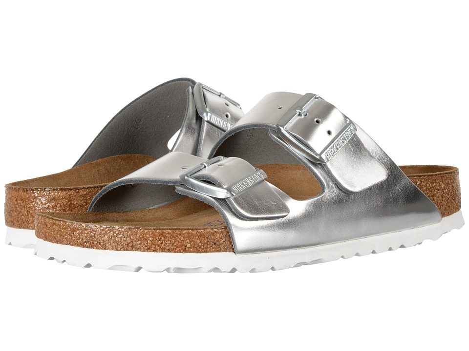 Birkenstock - Arizona Soft Footbed (Metallic Silver Leather) Womens  Shoes