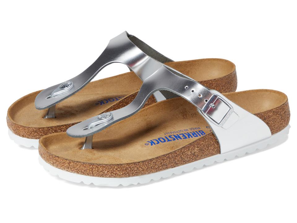 Birkenstock Gizeh Soft Footbed (Metallic Silver Leather) Women