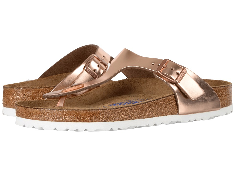 Birkenstock Gizeh Soft Footbed (Metallic Copper Leather) Women