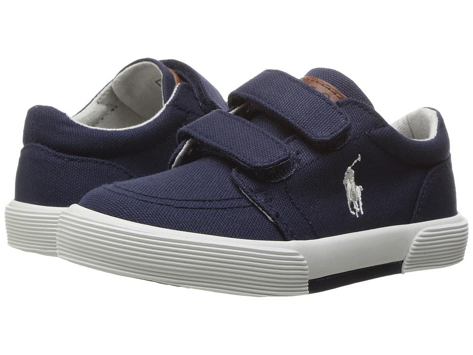 Polo Ralph Lauren Kids Faxon II EZ (Toddler) (Navy Canvas/Paper White PP) Kid's Shoes