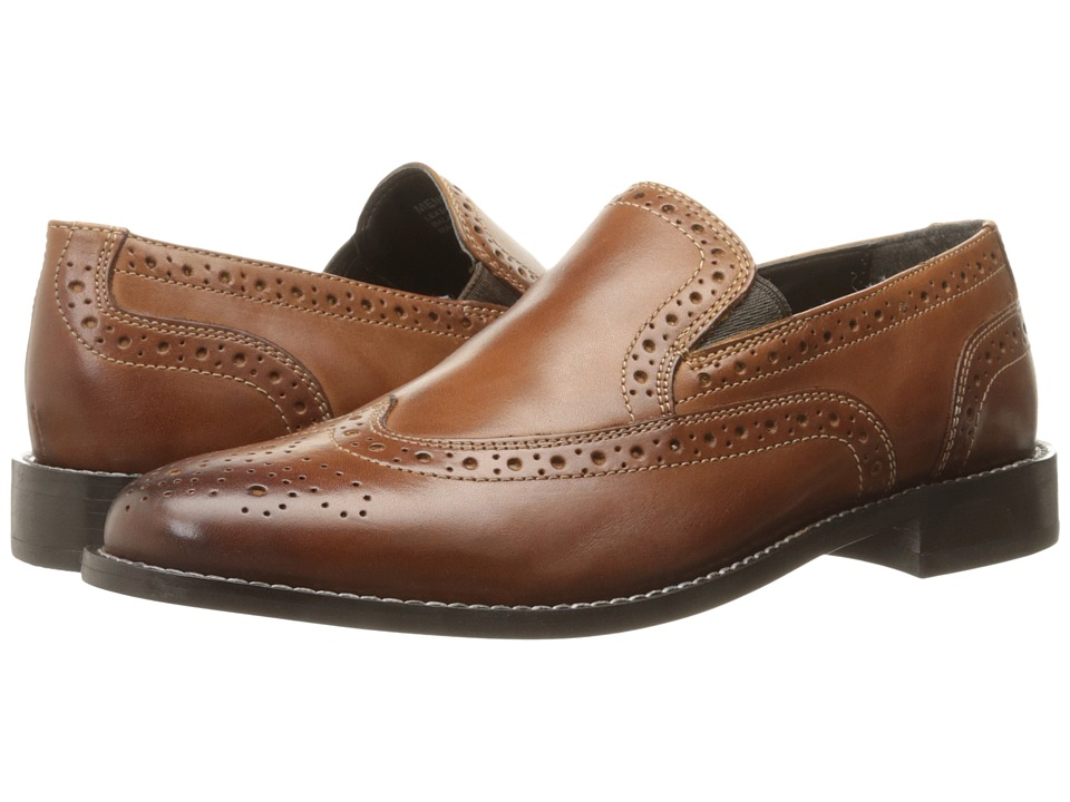 Nunn Bush - Norris Wing Tip Double Gore Dress Casual Slip-On (Cognac) Mens Slip-on Dress Shoes