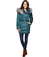 Betsey Johnson - Quilted Asymmetrical Zip Puffer w/ Fur Hood