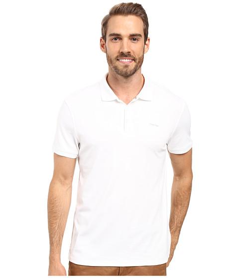 Calvin Klein Liquid Cotton Solid Short Sleeve Polo - White