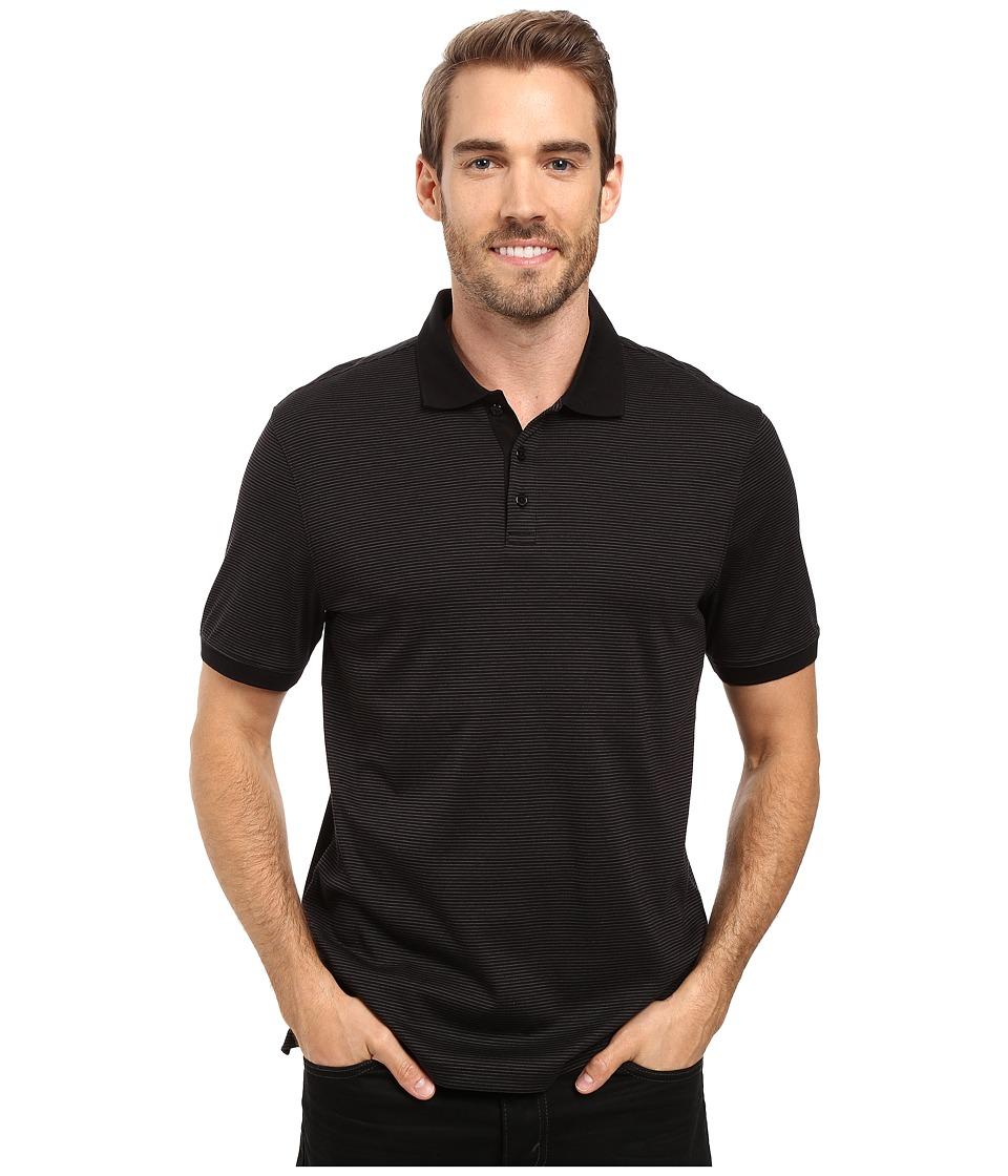Calvin Klein - Liquid Cotton Stripe Polo (Black) Mens Short Sleeve Knit