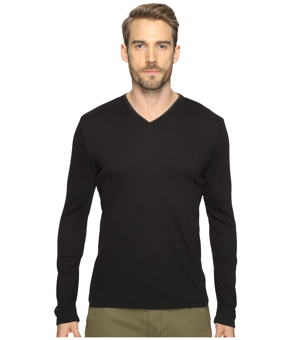 Calvin Klein Long Sleeve Rib V-Neck T-Shirt (Black) Men