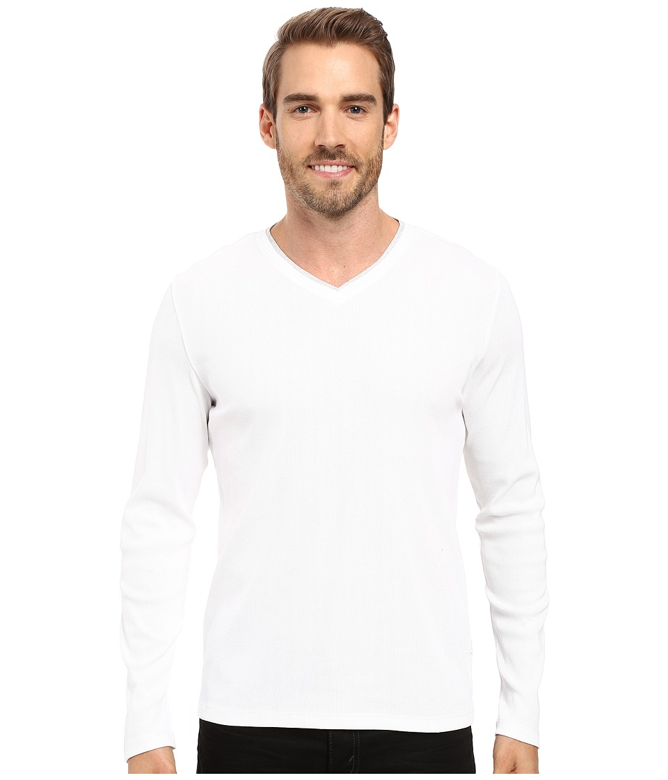 Calvin Klein Long Sleeve Rib V-Neck T-Shirt (White) Men