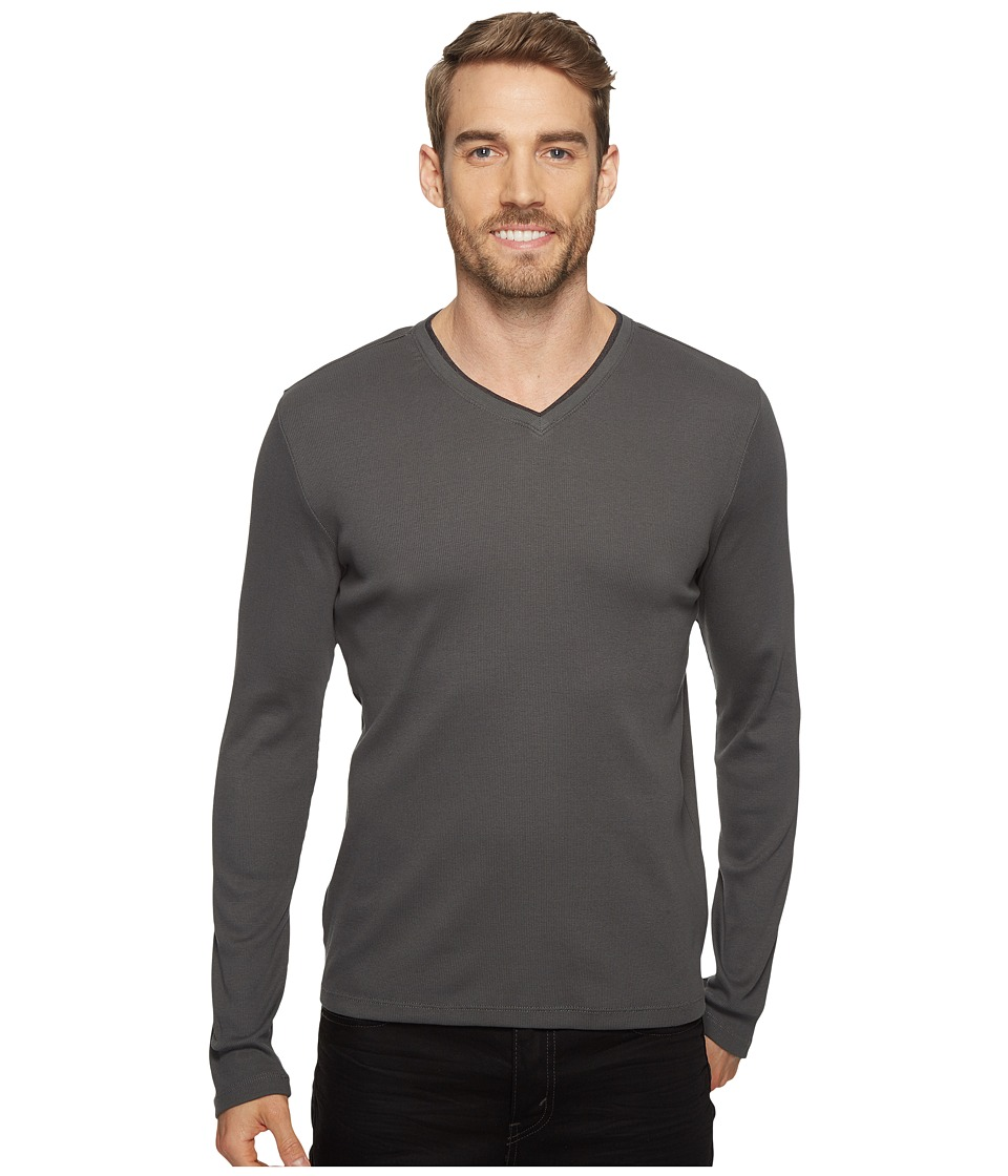 Calvin Klein Long Sleeve Rib V-Neck T-Shirt (Fatigue) Men