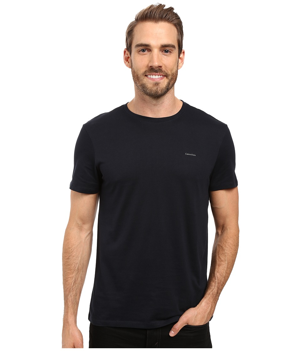 Calvin Klein Short Sleeve Pima Cotton Crew T-Shirt (Officer Navy) Men