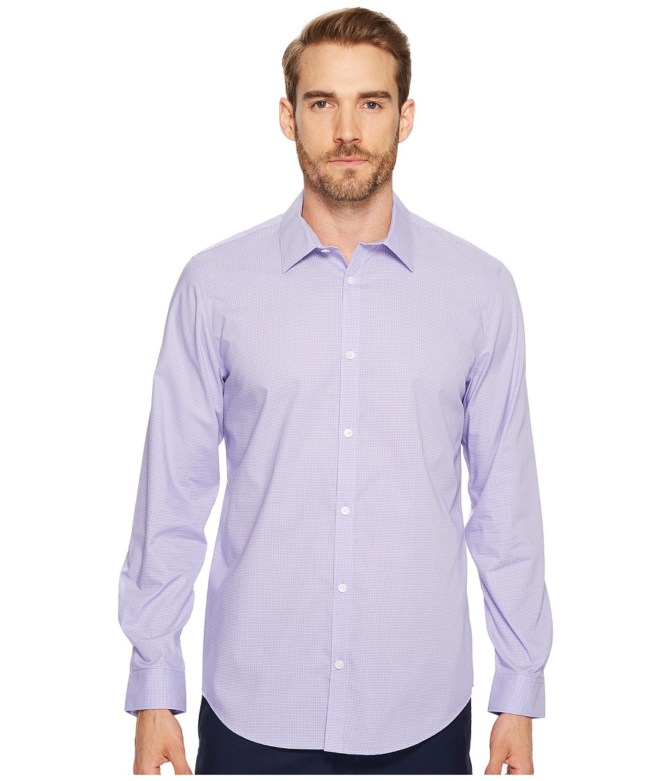 Calvin Klein - Long Sleeve Infinite Cool Button Down Mini Check Shirt (Madras Purple) Mens Long Sleeve Button Up