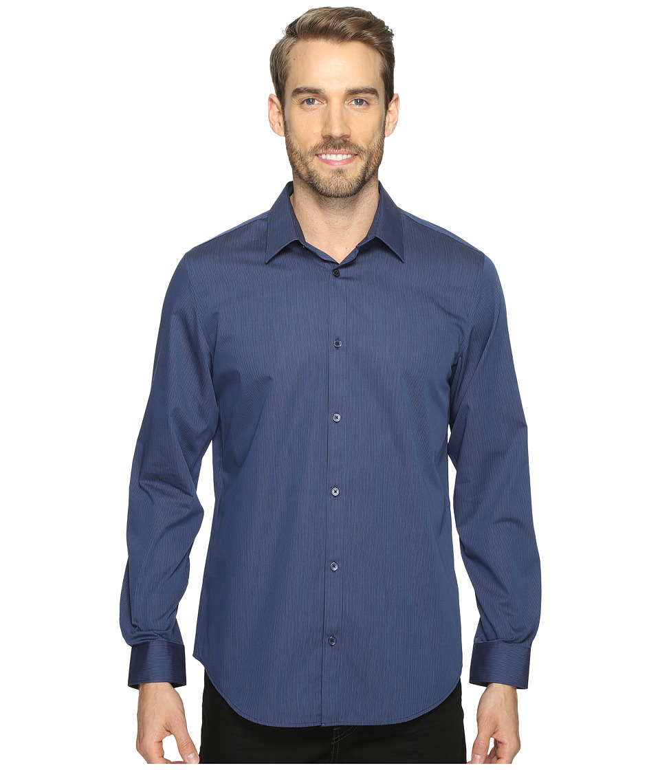Calvin Klein - Long Sleeve Infinite Cool Button Down Stripe Shirt (Atlantis) Mens Long Sleeve Button Up