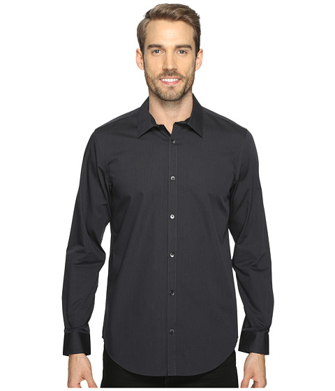 Calvin Klein Long Sleeve Infinite Cool Button Down Stripe Shirt - Carbon