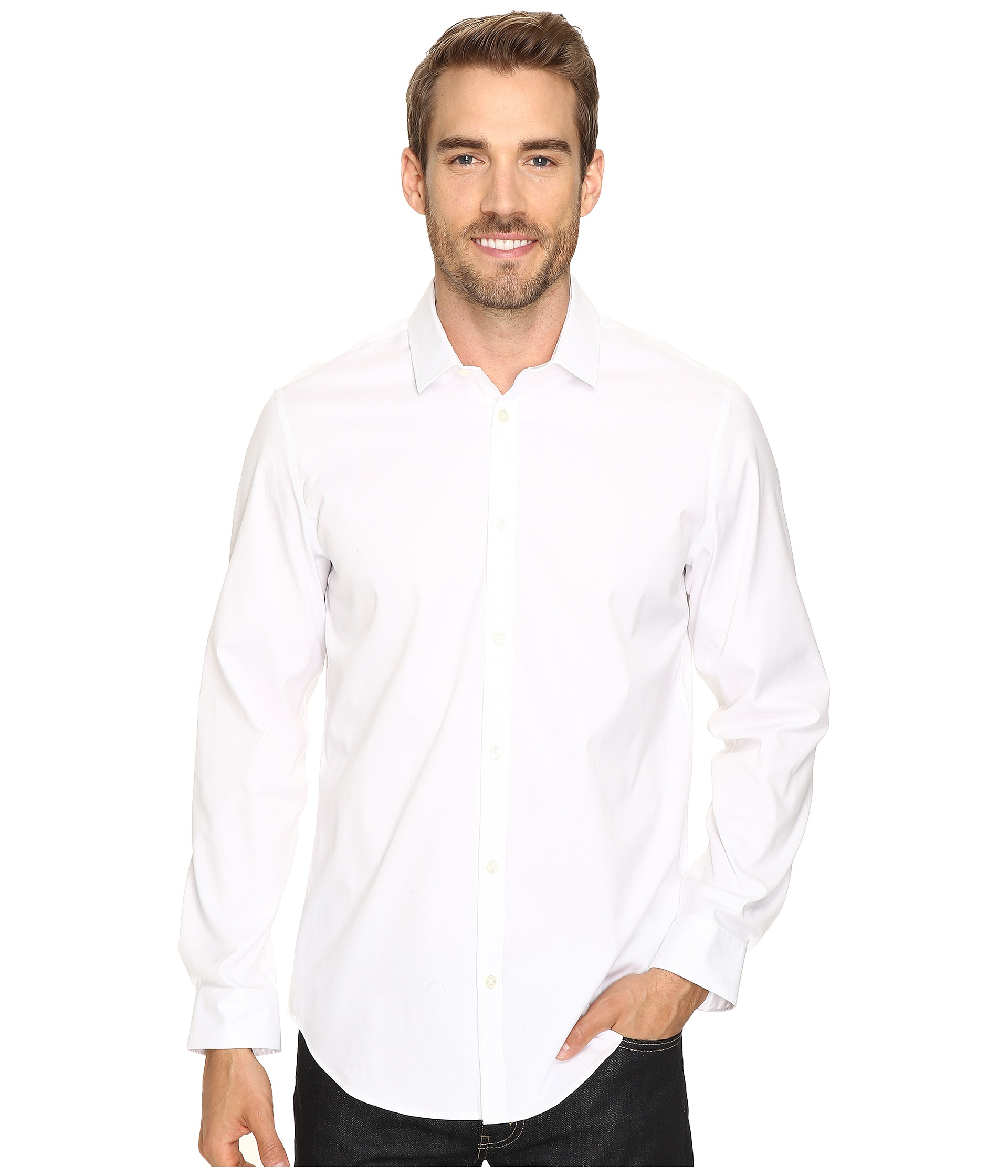 Calvin klein long sleeve infinite cool button down oxford for Cool long sleeve button up shirts