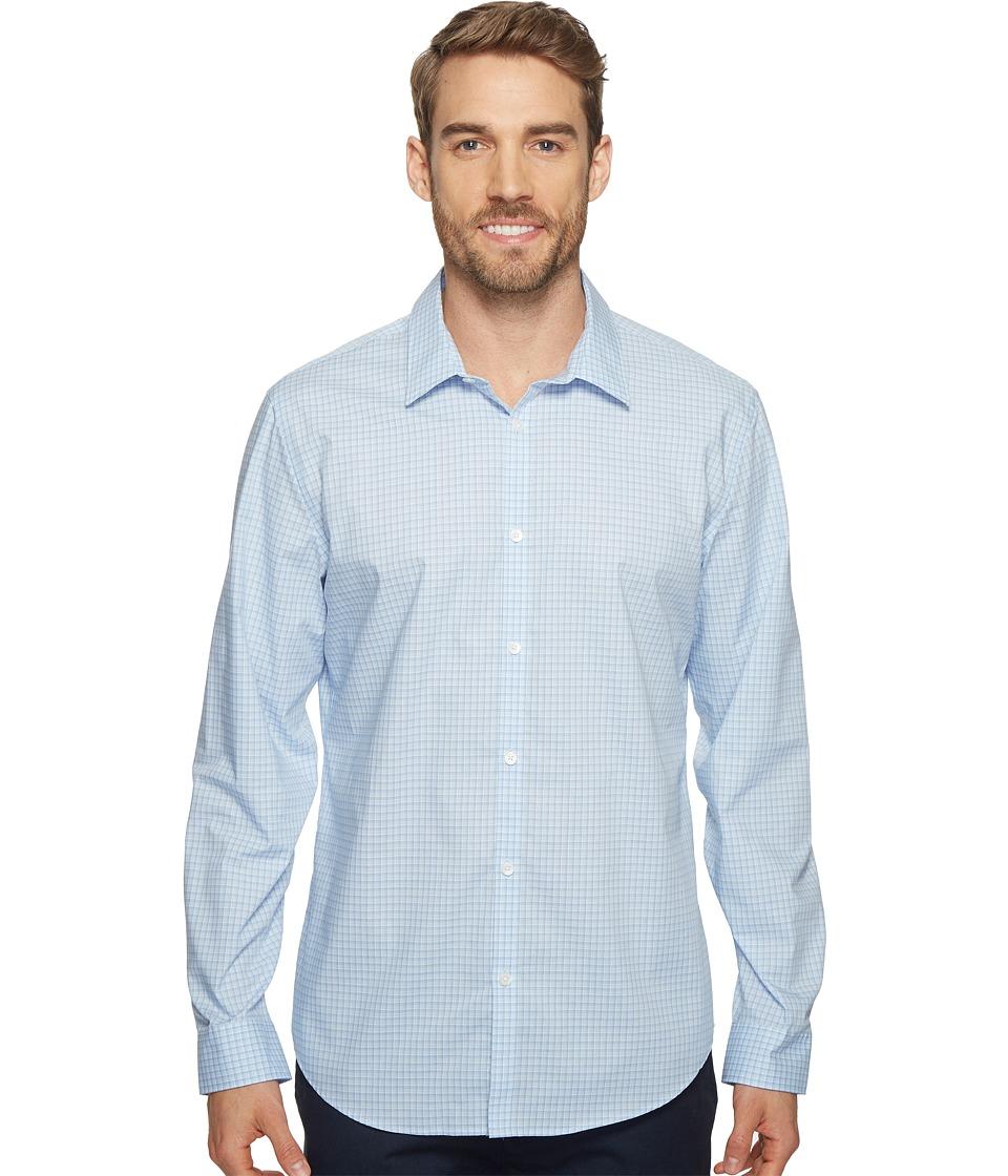 Calvin Klein - Slim Fit Long Sleeve Infinite Cool Button Down Check Shirt (Blue Capri) Mens Clothing