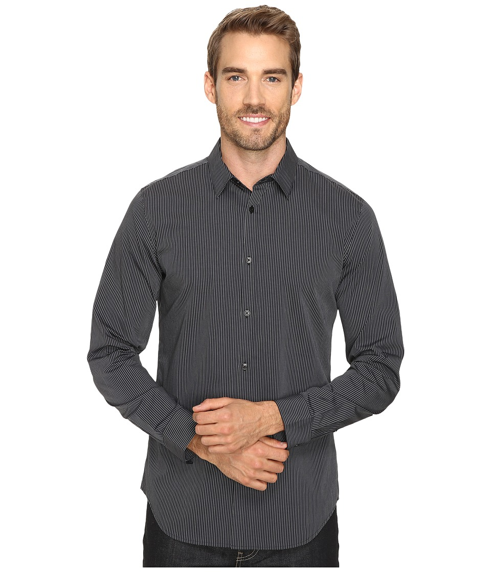 Calvin Klein - Slim Fit Long Sleeve Infinite Cool Button Down Stripe Shirt (Black) Mens Long Sleeve Button Up