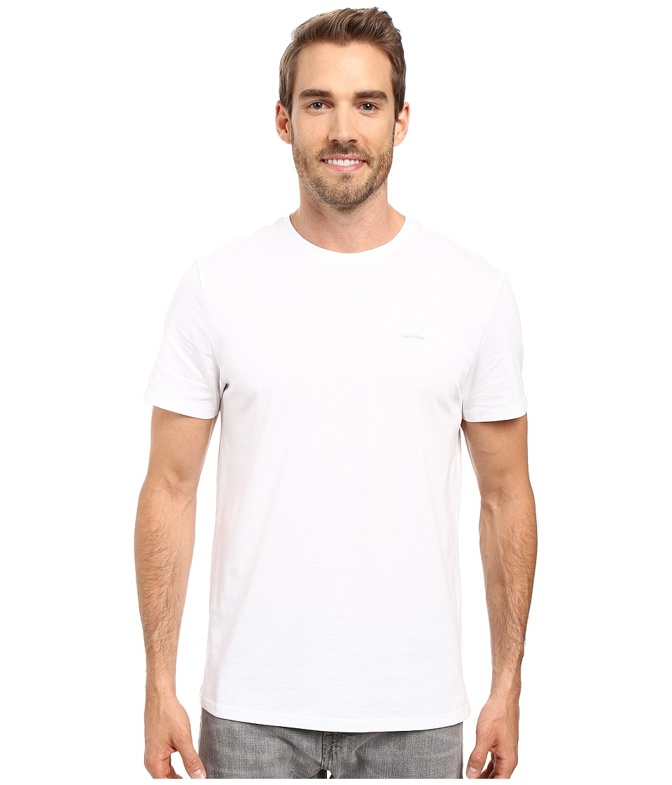 Calvin Klein Short Sleeve Pima Cotton Crew T-Shirt (White) Men