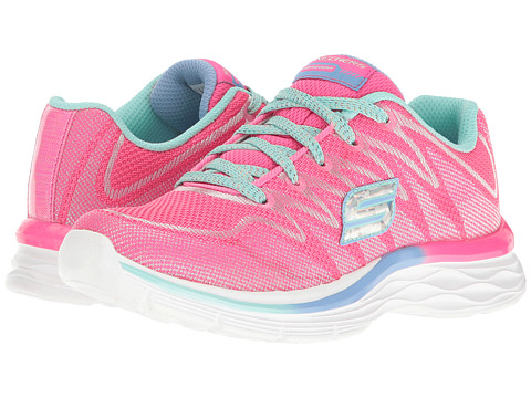 SKECHERS KIDS Dream N Dash 81130L (Little Kid/Big Kid) - Neon Pink/Aqua