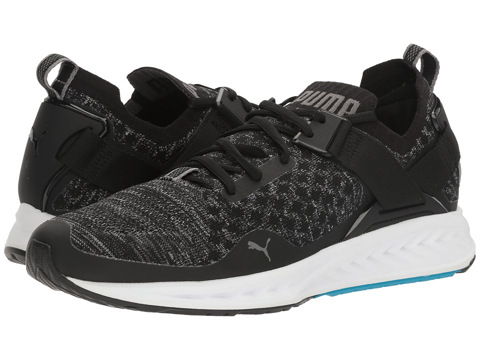PUMA - Ignite evoKNIT Lo (Puma Black/Blue Danube/Quiet Shade) Mens Running Shoes