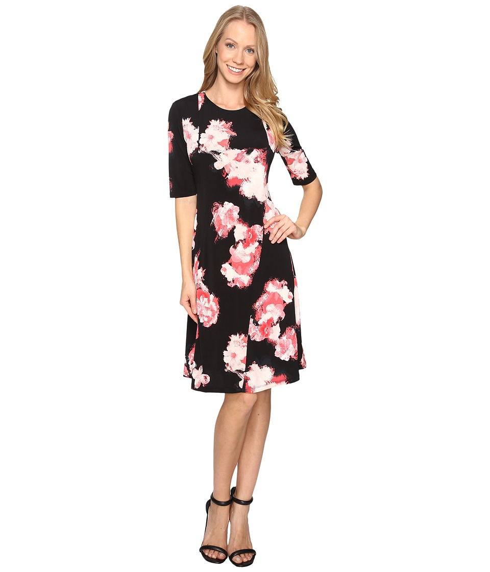 Ellen Tracy Fit and Flare Knit Dress (Floral Chrys) Women