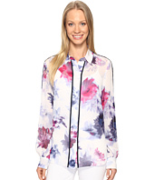 Ellen Tracy - Piped Button Front Blouse