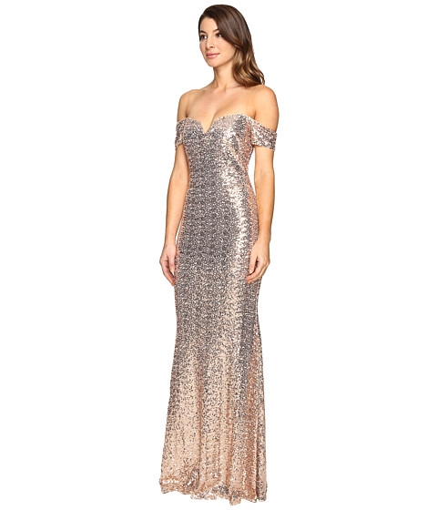 Badgley Mischka Off the Shoulder Sequin Gown - Zappos.com Free ...