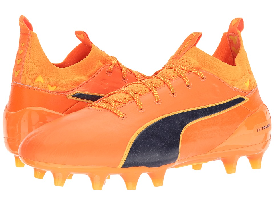PUMA - evoTOUCH 1 FG (Orange Clown Fish/Peacoat/Ultra Yellow) Mens Shoes