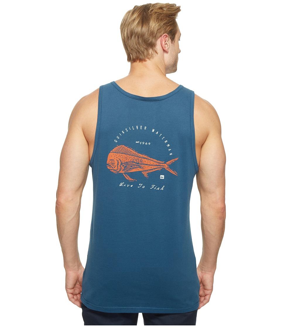 Quiksilver Waterman Live to Fish Short Sleeve Tank Top (Major Blue) Men