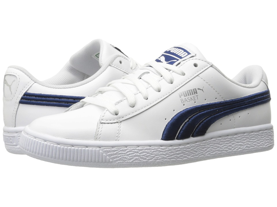 PUMA - Basket Classic Badge (PUMA White/True Blue) Mens Shoes