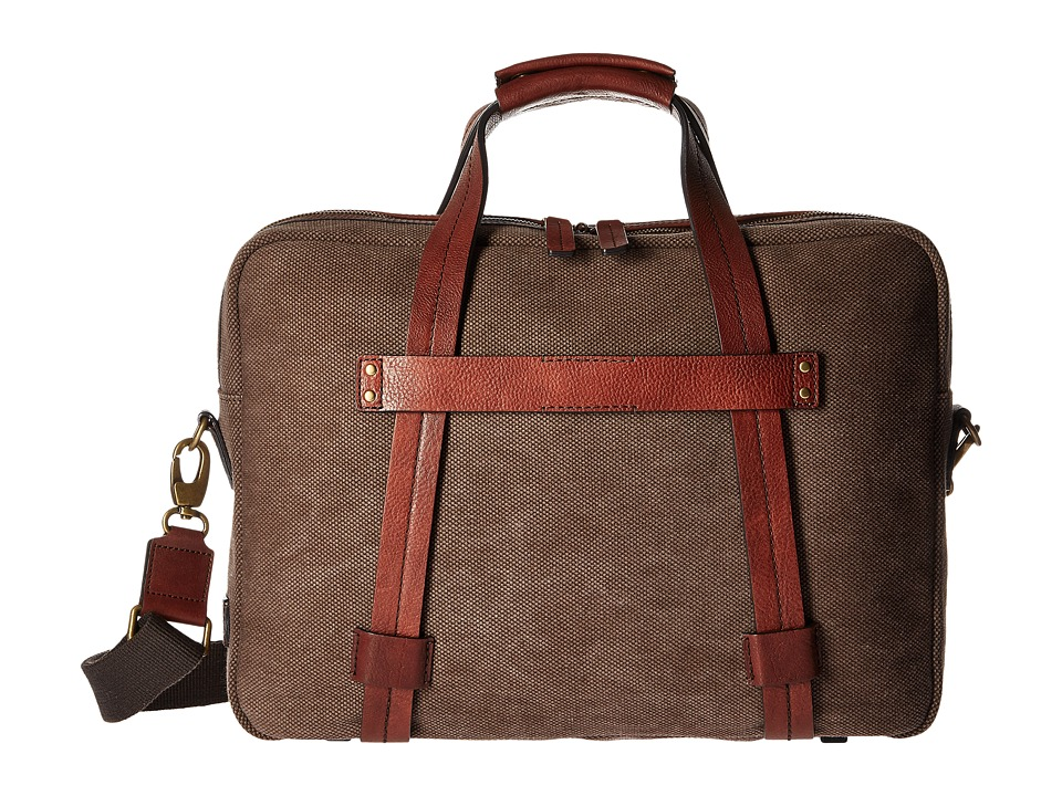 Bosca Washed Leather Collection Zip Top Brief (Brown/Dark Brown) Briefcase Bags