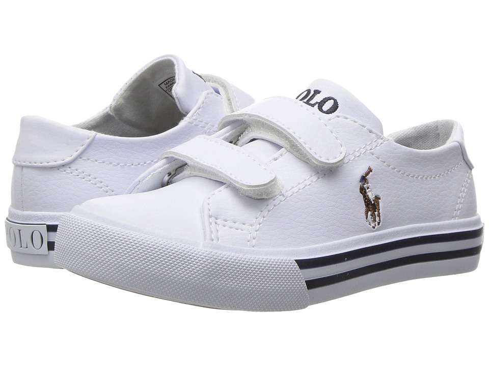 Polo Ralph Lauren Kids Slater EZ (Toddler) (White Tumbled/Multi PP) Girl's Shoes
