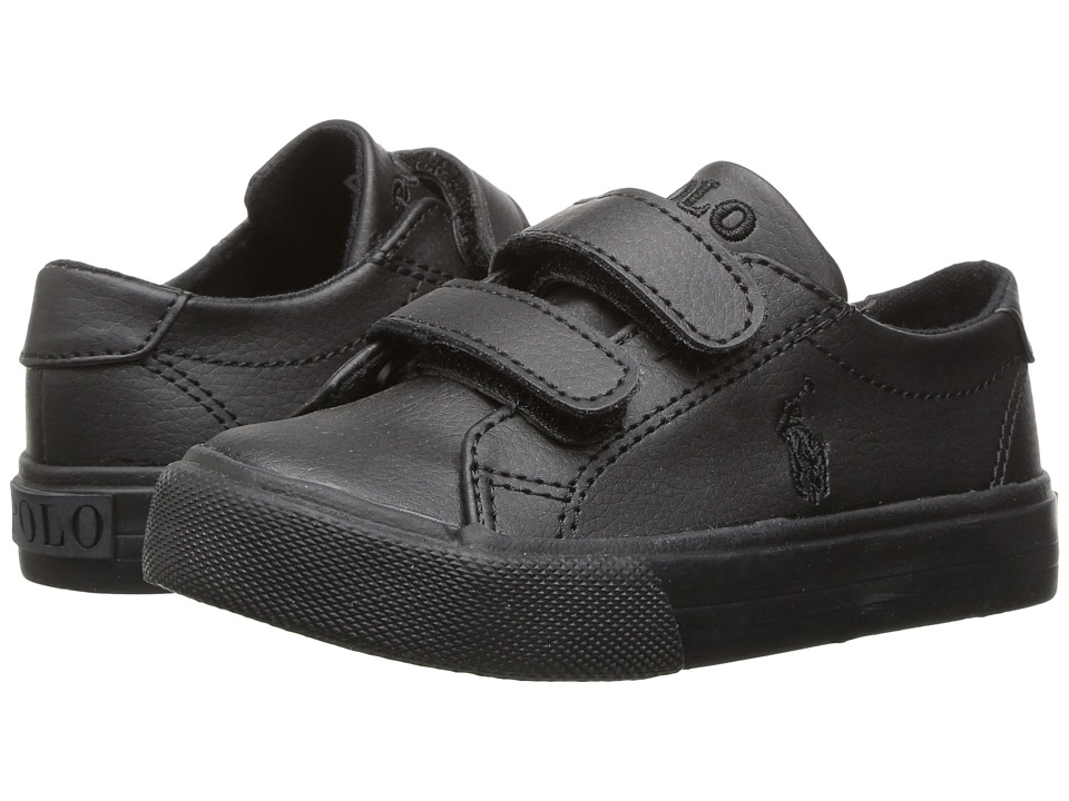 Polo Ralph Lauren Kids Slater EZ (Toddler) (Triple Black Tumbled) Kid's Shoes
