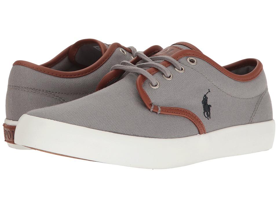 Polo Ralph Lauren Kids Waylon (Big Kid) (Grey Canvas/Navy PP) Kid's Shoes