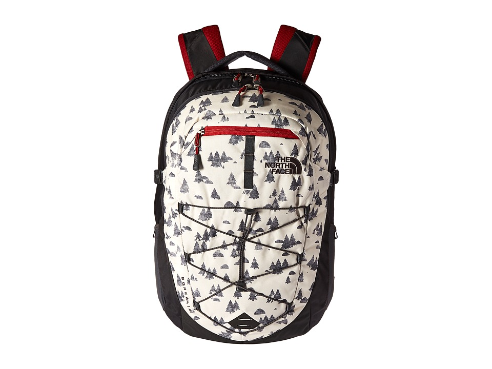 The North Face Borealis Backpack (Vintage White Sasquatch Print/Cardinal Red) Backpack Bags