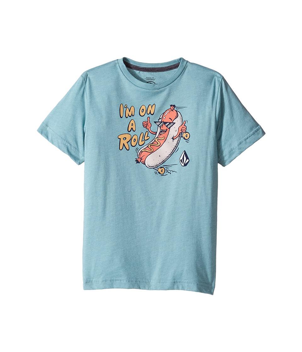 Volcom Kids On A Roll Short Sleeve Tee (Toddler/Little Kids) (Sea Blue Heather) Boy