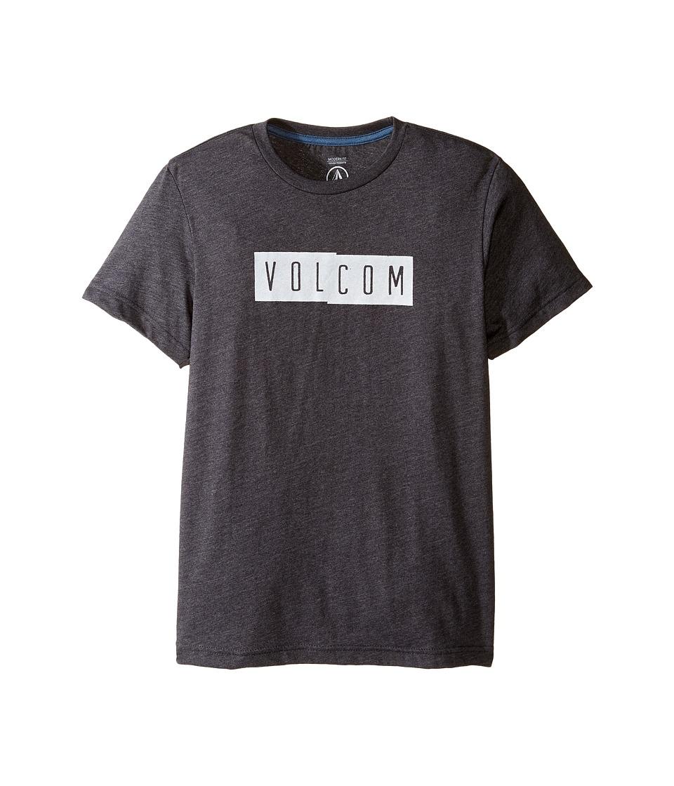Volcom Kids Shifty Short Sleeve Tee (Big Kids) (Heather Black) Boy