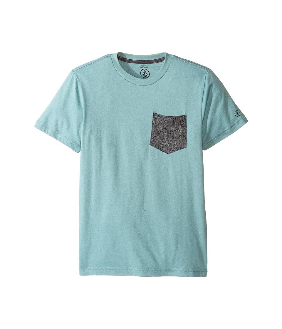 Volcom Kids Twist Pocket Short Sleeve Tee (Big Kids) (Sea Blue Heather) Boy