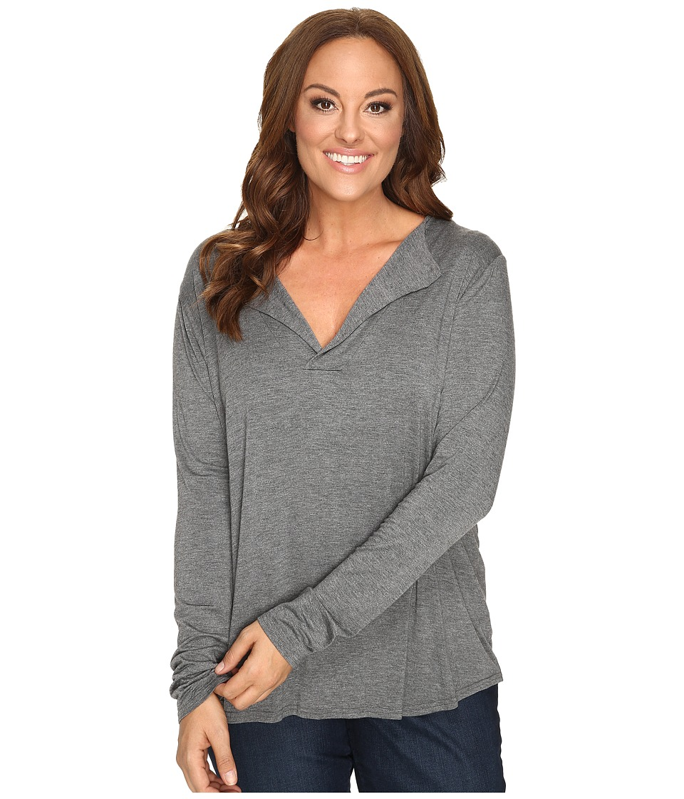 Stetson - Plus Size 0759 Rayon Knit V-Neck Blouse (Grey) Women's Blouse plus size,  plus size fashion plus size appare