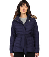 U.S. POLO ASSN. - Belted Puffer Jacket with Faux Fur Hood Trim